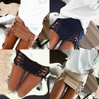New Women Lace Up Straps Suede Short Solid Color Bodycon Mini Skirt Dress