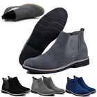 Mens Flat Suede Ankle Slip On Ankle Boots Smart Casual Desert Chelsea Shoes US