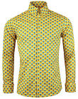 NEW MADCAP RETRO MOD 60s 70s PEACOCK OP ART SHIRT YELLOW 3 BUTTON DOWN MC205