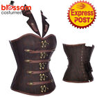 CC87 Steampunk Boned Brocade Corset Brown Brocade Collar Goth Halloween Costume