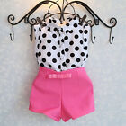 2pc Toddler Infant Girls Outfits Polka Dot Tops+Bowknot Pants Shorts Clothes Set