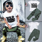 2PCS Toddler Kids Baby Boys Tops T-shirt Pants Harem Outfits Set Clothes