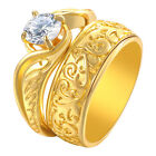 Vintage Round 14k Yellow Gold 925 Sterling Silver Wedding Engagement Ring Set