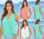 UK Sexy Womens V-Neck Blouse Casual Top Summer T-Shirt Beach Tops Blouses 6-16