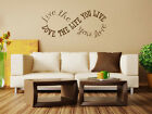 """""""love The Life You Live..."""" Infinity Circle Wall Quote, Wall Sticker,  Transfer"""