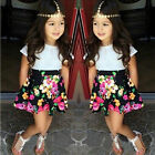 2PC Kids Baby Girls Short Sleeve T-shirt + Floral Skirt Set Summer Dress Outfit′
