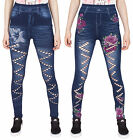 Noroze Femme Déchirer Jeggings Denim Regarde Floral Leggings Jeans Pantalon