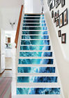 3D Blue waves 255 Stair Risers Decoration Photo Mural Vinyl Decal Wallpaper AU