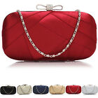 Medium Boxed Women Satin Bridal Clutch Bag Ladies Evening Hardcase Party Prom UK