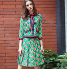 L2017 Occident 3/4 sleeves printing ladies shirt+skirt suit refined trendy cute