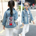 Fashion Denim Jackets For Girls Children Outerwear Autumn Cartoon Denim Coats