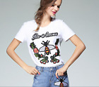 17 occident bee embroidery short sleeves white T shirt popular lively S M L XL