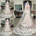 Yoocart White Ivory 1T Cathedral Edge Lace Bridal Wedding Veil With Comb 3M