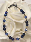 Gold Navy Blue Cat's Eye Crystal Medical ID Alert Replacement Bracelet! (MA038)