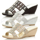 WOMENS MID HEEL WEDGE BRIDAL PROM WEDDING DIAMANTE MULES SANDALS SHOES SIZE