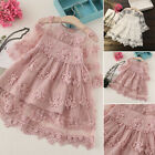 Kids Baby Girl Princess Dress Lace Floral Hollow Party Pageant Wedding Gown 2-7Y