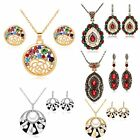 Fashion Woman Wedding Jewelry Sets Gold Plated Crystal Vintage Necklace Earrings