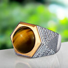 SOLID STERLING SILVER with Natural Tiger's Eye Gemstone Handmade Ring for Men