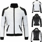 Men's Diamond PU Outwear Leather Standing Collar Motorcycle Winter Jacket Coat