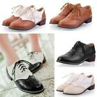 Wingtip Lace up Womens Pumps Oxford Flat Brogue Lolita Mary Jane Shoes Size Plus
