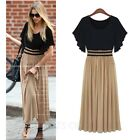 Womens Chiffon Fully Lined BOHO Pleated Dress Maxi Long Sundress party Size 2
