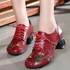 Women's Embroidery Leather Mid Heels Soft Sole Chunky Heel Mothers Dance Shoes