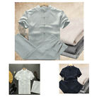 Mens casual shirt top+pants sets Tai chi kungfu Chinese style Embroidery Linen