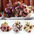 Artificial Bouquet 10 Heads Peony Silk Flowers Leaf Home Wedding Party Decor C3