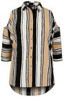 YoursClothing Plus Size Womens Ladies Camel Mix Striped Cold Shoulder Shirt