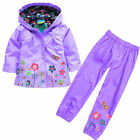 2pc Girls Rain Jacket Waterproof Pants Hoodies Raincoat Outwear Kids Outfit Sets