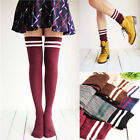 Opaque Athletic Stripe Top Knee High Tube Socks School Girl Knitted Stockings