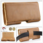 Cell Phones Horizontal Carrying Leather Pouch Case Brown With Belt Clip Holster