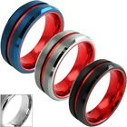 8mm Tungsten Men's Red Stripe & Inside Wedding Band (3 Colors)-Engraving Avail.