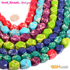 """13X18mm Sea Sediment Jasper Stone Jewelry Making Beads 15"""" Dyed Faceted Dice"""
