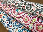 100% cotton designer panam linen look morocon style  fabric 140cm wide circles