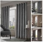 Luxury Crushed Velvet Curtains, Fully Lined Ring Top Eyelet Curtain Pair