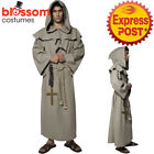 CA409 Old England Monk Friar Tuck Robe Priest Medieval Religious Mens Costume