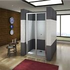 Bifold Door Shower Enclosure Walk In 5mm Safety Glass Cubicle Tray Free Waste BM