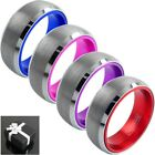8mm Tungsten Men's Blue Pink Purple or Red Inside Brushed Center Wedding Band