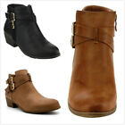 NEW Women's Fashion Criss Cross Buckle Strap Low Chunky Heel Ankle Booties Shoes