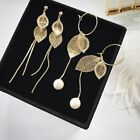 Fashion Gold Leaf Pearl Long Tassel Link Hoop Ear Stud Earrings Women Jewelry