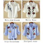 Sale Beauty Women Girl Floral Stripes Embroidery T-Shirt Blouse Tees Tops