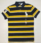 Polo Ralph Lauren Mens Big Pony Custom Fit Navy Yellow Striped Shirt New S