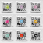 "Personalised Collage Monogram Cushion Cover 15"" x 15"" Pillow Cover 8Photos Print"