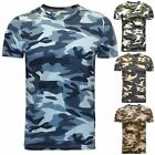NEW MENS CAMO T SHIRT MILITARY TACTICAL CAMOUFLAGE ARMY COMBAT COTTON HUNTING