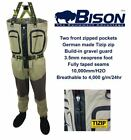 BISON BREATHABLE ZIP FRONT WADERS COMPLETE WITH RUBBER OR FELT SOLE WADING BOOTS