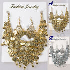 New Belly Dance Jewelry Necklace  Earring Tribal Coins Beads Dance Accessories