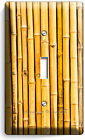 RUSTIC BAMBOO CRACKED STICKS BOARD LIGHT SWITCH OUTLET WALL PLATE ROOM ART DECOR