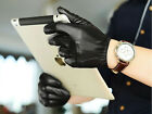 man's fashion luxury top Italy leather  wrist back three lines black gloves
