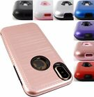 "FOR APPLE IPHONE 8 (5.1"") BRUSHED METAL TEXTURE CASE RUGGED HYBRID COVER+STYLUS"